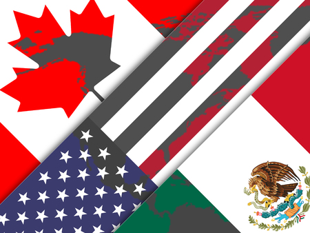 Nafta Flags - Negotiation Deal With Canada And Mexico. Treaty Or Agreement For Border Economics - 2d Illustration