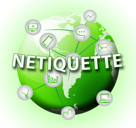 Netiquette Polite Digital Behavoir Or Web Etiquette. Civility Protocol On Networks And Tech - 3d Illustration Standard-Bild