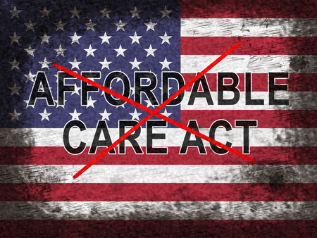 Repeal Aca Affordable Care Act Health Care. United States Medical Healthcare Scheme Replaced - 2d Illustration