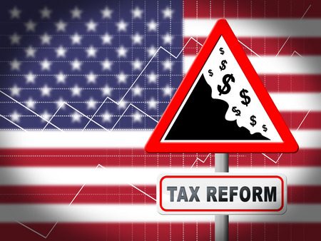 Tax Reform To Change Taxation System In Usa. GOP Or Republican Finance Policy Changed - 3d Illustration Banco de Imagens