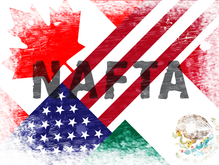 Nafta Negotiation Deal With Canada And Mexico. Treaty Or Agreement For Border Economics - 2d Illustration Foto de archivo