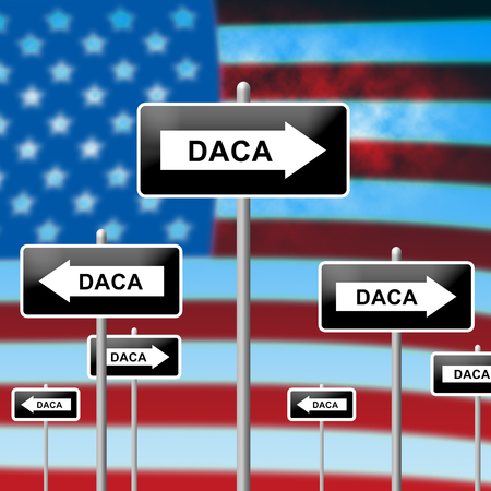 Daca Kids Dreamer Legislation Sign For Us Immigration. Passport For Immigrant Children In The United States - 3d Illustration