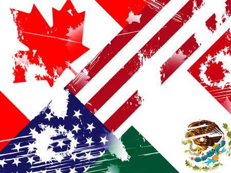 Trump Nafta Negotiation Deal With Canada And Mexico. Treaty Or Agreement For Border Economics - 2d Illustration 版權商用圖片