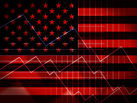 Trump Economics Plan Strategy For Usa Growth. Stock Market Financial Income Or Recession And Debt - 2d Illustration Standard-Bild - 115083243