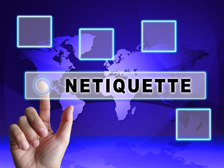 Netiquette Polite Online Behavoir Or Web Etiquette. Civility Protocol On Networks And Tech - 3d Illustration Standard-Bild