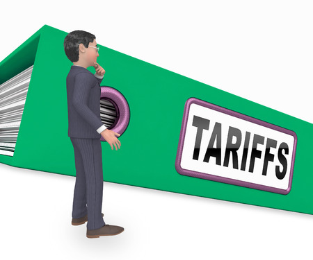Trade Tariffs On China As Tax And Penalty. Usa Finance Economy Trading Taxation - 3d Illustration Foto de archivo