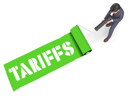 Trade Tariffs As Duty And Penalty. Usa Finance Economy Trading Taxation - 3d Illustration