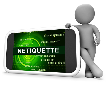 Netiquette Polite Online Decorum Or Web Etiquette. Civility Protocol On Networks And Tech - 3d Illustration Banque d'images - 115144444