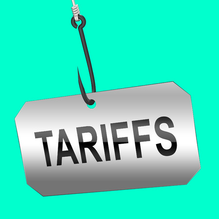 Trump Trade Tariffs On China As Duty And Penalty. Usa Finance Economy Trading Taxation - 3d Illustration Foto de archivo