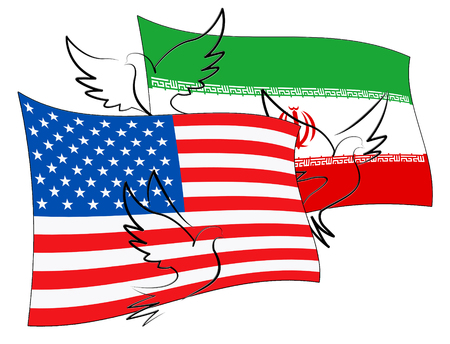 Us Iran Conflict And Sanctions Or Agreement. Trade Deals And Crisis Or Tension - 2d Illustration Stock Photo