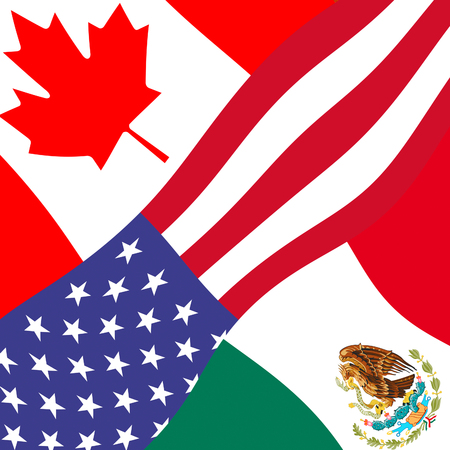 Nafta Flags - Negotiation Deal With Canada And Mexico. Treaty Or Agreement For Border Economics - 2d Illustration Imagens - 115145141