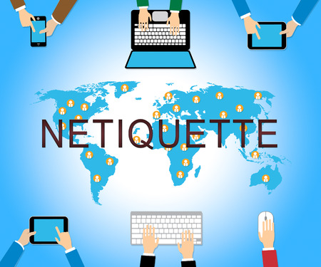 Netiquette Polite Online Behavoir Or Web Etiquette. Civility Protocol On Networks And Tech - 2d Illustration Reklamní fotografie