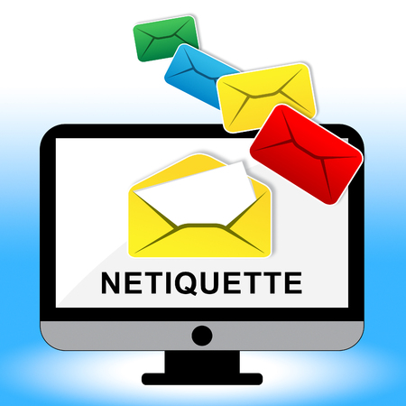 Netiquette Polite Online Behavoir Or Web Etiquette. Civility Protocol On Networks And Tech - 2d Illustration Standard-Bild - 115145781