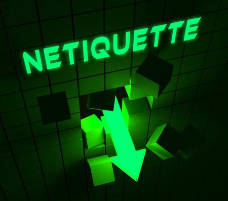 Netiquette Polite Online Conduct Or Web Etiquette. Civility Protocol On Networks And Tech - 3d Illustration Standard-Bild