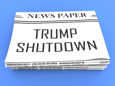 Washington, DC - January 2019: Trump Shutdown Newspaper Means American Government Closed And Employees Furloughed. Standoff Between Democrats And Republicans - Editorial Illustration
