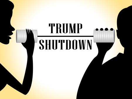 Washington, DC - January 2019: Trump Shutdown Talk Means American Government Closed For Longest Political Standoff. Senate And Congress Standstill - Editorial Illustration