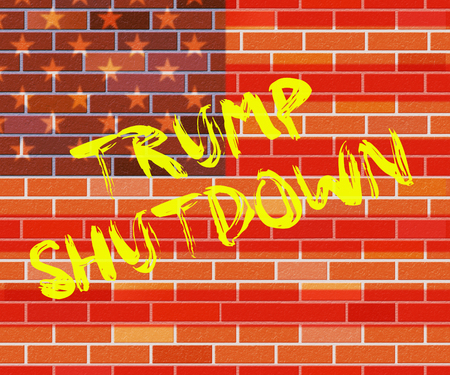 Washington, DC - January 2019: Trump Shutdown Wall Means American Government Closed And Employees Furloughed. Standoff Between Democrats And Republicans - Editorial Illustration 新聞圖片
