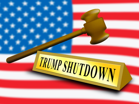 Washington, DC - January 2019: Trump Shutdown Nameplate Means American Government Closed And Employees Furloughed. Standoff Between Democrats And Republicans - Editorial Illustration