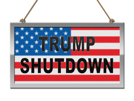 Washington, DC - January 2019: Trump Shutdown Notice Means American Government Closed And Employees Furloughed. Standoff Between Democrats And Republicans - Editorial Illustration