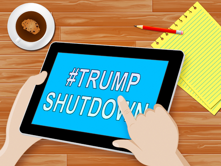 Washington, DC - January 2019: Trump Shutdown Tablet Means American Government Closed For Longest Political Standoff. Senate And Congress Standstill - Editorial Illustration 新聞圖片