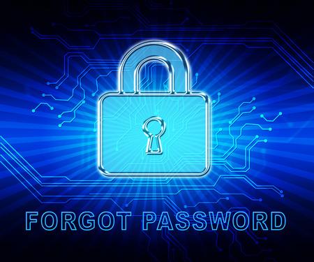 Forgot Username Padlock Means Wrong Userid Entered. remember Login Security Verification - 3d Illustration