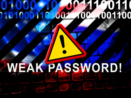 Weak Password Warning Shows Online Vulnerability And Internet Threat. Risk Of Cybersecurity Breach - 3d Illustration Stock fotó