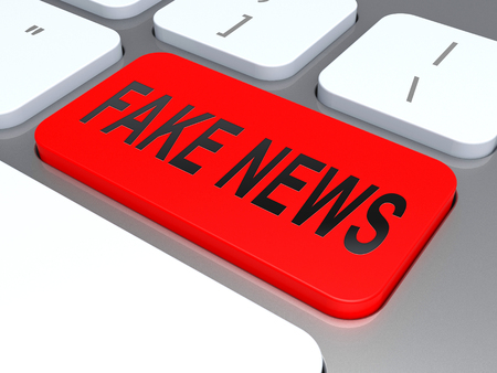 Fake News Online Shows Disinformation And Lies. Hoax Information In Politics And Media - 3d Illustration Banque d'images - 116117045