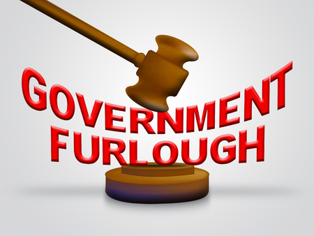 Government Furlough Gavel Means Layoff For Federal Workers. National Shutdown From Washington - 3d Illustration