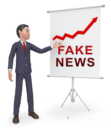 Fake News Media Graph Depicts Online Hoax And Misinformation. Lies In Journalism And False Facts - 3d Illustration Фото со стока