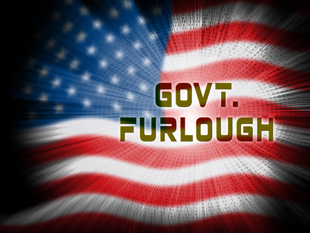 Government Furlough Flag Means Layoff For Federal Workers. National Shutdown From Washington - 3d Illustration Stock Photo