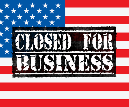 Government Furlough Closed For Business For Federal Workers. National Shutdown From Washington - 3d Illustration