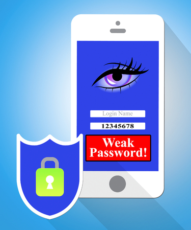 Weak Password Mobile Phone Shows Online Vulnerability And Internet Threat. Risk Of Cybersecurity Breach - 3d Illustration