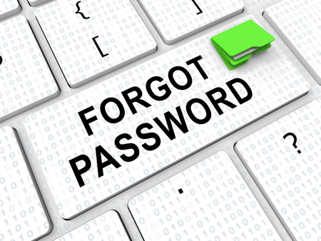 Forgot Password Keyboard Shows Login Authentication Invalid. remember Login Security Verification - 3d Illustration Stock Photo