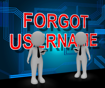 Forgot Username Sign Means Wrong Userid Entered. Online Access Id Security Error - 3d Illustration Stock Photo