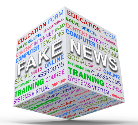 Fake News Icon Box Means Misinformation Or Disinformation. Online Hoax Or Misleading Information  - 3d Illustration Stock Photo