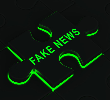 Fake News Icon Jigsaw Means Misinformation Or Disinformation. Online Hoax Or Misleading Information  - 3d Illustration