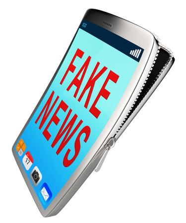 Fake News Phone Displays Misinformation On Social Media. False Information And Propaganda - 3d Illustration
