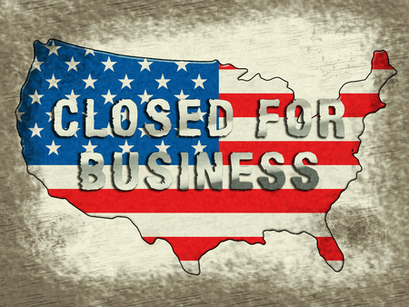 Government Furlough Closed For Business Map For Federal Workers. National Shutdown From Washington - 3d Illustration