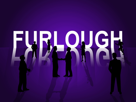 Government Furlough Word Means Layoff For Federal Workers. National Shutdown From Washington - 3d Illustration Stockfoto
