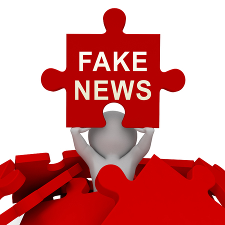 Fake News Media Depicts Online Hoax And Misinformation. Lies In Journalism And False Facts - 3d Illustration Imagens