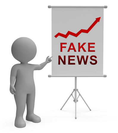 Fake News Media Graph Depicts Online Hoax And Misinformation. Lies In Journalism And False Facts - 3d Illustration Stock Photo