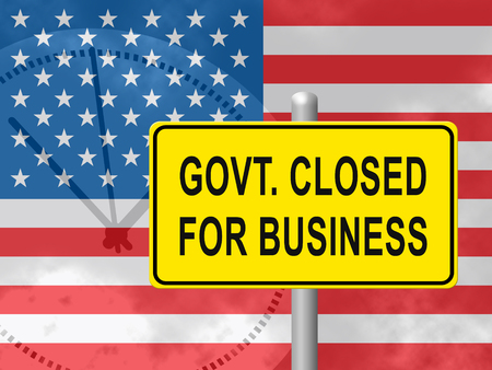 Government Furlough Closed For Business Sign For Federal Workers. National Shutdown From Washington - 3d Illustration