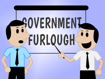 Government Furlough Sign Means Layoff For Federal Workers. National Shutdown From Washington - 3d Illustration Stock Photo