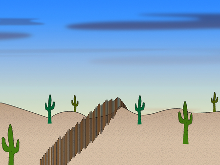 Texas Border Wall Or Fence Represents American Immigration Protection. Lone Star State Security - 3d Illustration