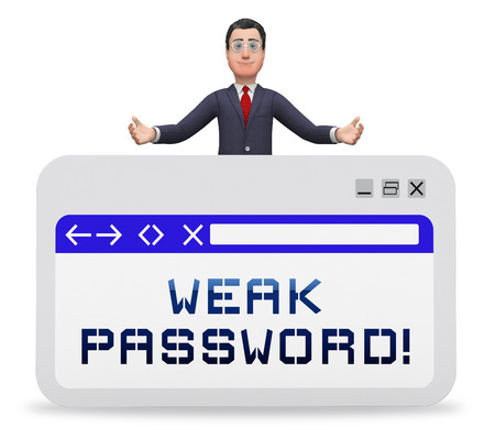 Weak Password Webpage Shows Online Vulnerability And Internet Threat. Risk Of Cybersecurity Breach - 3d Illustration