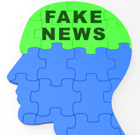 Fake News Icon Brain Means Misinformation Or Disinformation. Online Hoax Or Misleading Information  - 3d Illustration