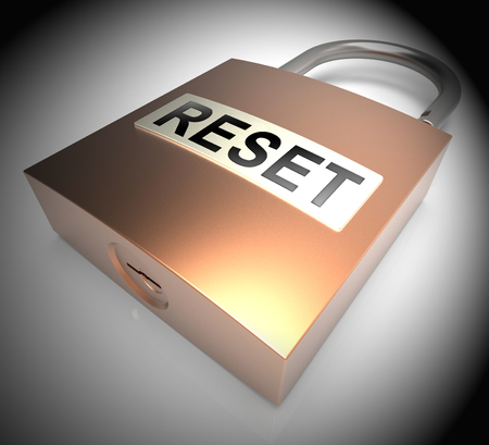 Reset Password Padlock To Redo Security Of PC. New Code For Securing Computer - 3d Illustration Archivio Fotografico - 116117914