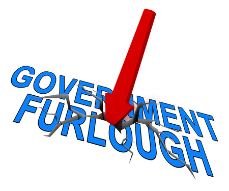 Government Furlough Arrow Means Layoff For Federal Workers. National Shutdown From Washington - 3d Illustration