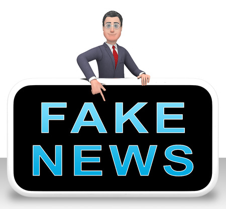 Fake News Phone Represents Misinformation On Social Media. False Information And Propaganda - 3d Illustration