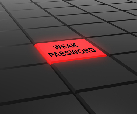 Weak Password Button Shows Online Vulnerability And Internet Threat. Risk Of Cybersecurity Breach - 3d Illustration